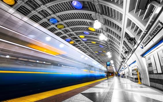 Wallpaper Seattle, subway, lights, USA