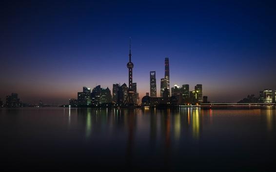 Wallpaper Shanghai, Huangpu, skyscrapers, river, night, lights, China