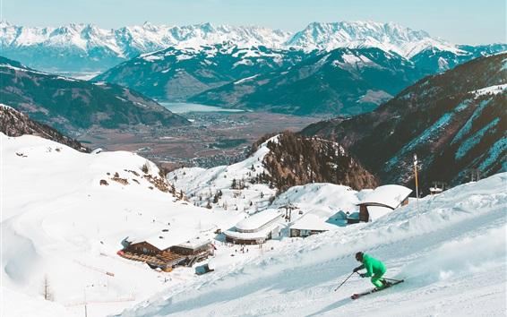 Wallpaper Ski, snowy, mountains, winter