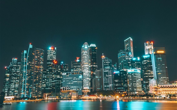Hintergrundbilder Wolkenkratzer, Gebäude, Beleuchtung, Nacht, Stadt, Fluss