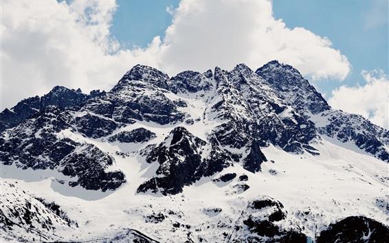 Fond d'écran Montagnes de neige, ciel, nuages