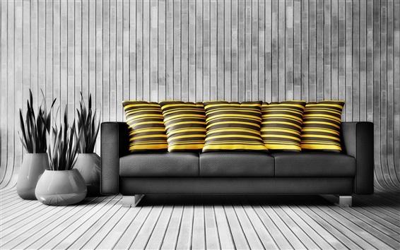 Wallpaper Sofa, living room, black style