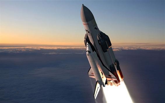 Wallpaper Space shuttle flight, Russian