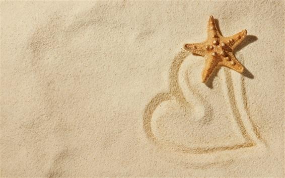 Wallpaper Starfish, beach, love heart