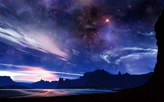 Fond d'écran Starry, mer, montagnes, nuages, crépuscule, beau paysage