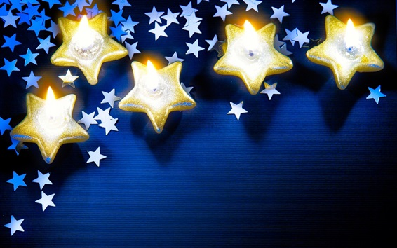 Papéis de Parede Estrelas, velas, chama, tema de Natal
