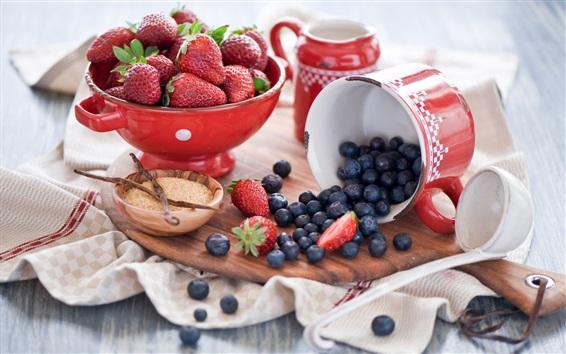 Wallpaper Strawberries, blueberries, cup, bowl