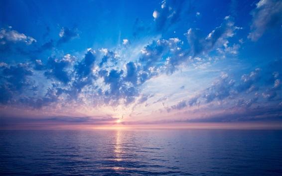 Wallpaper Sunset sea, blue, clouds, sky