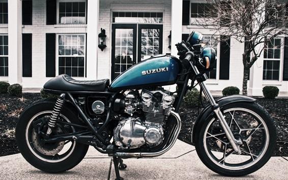 壁紙 スズキバイク、青