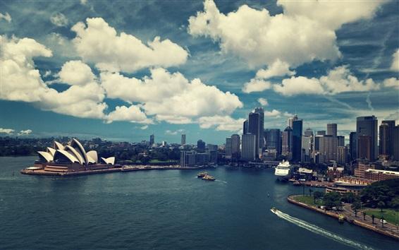 Wallpaper Sydney, Australia, city, sea, buildings, boats