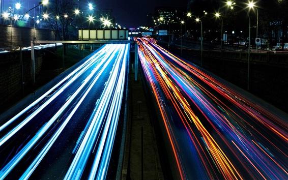 Обои Светофоры, яркие светлые линии, городская ночь
