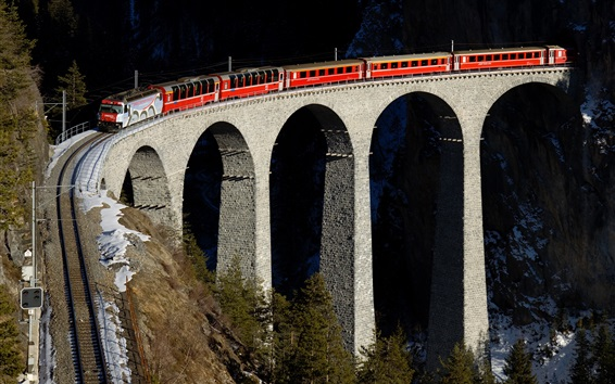Wallpaper Train, railway, bridge, height