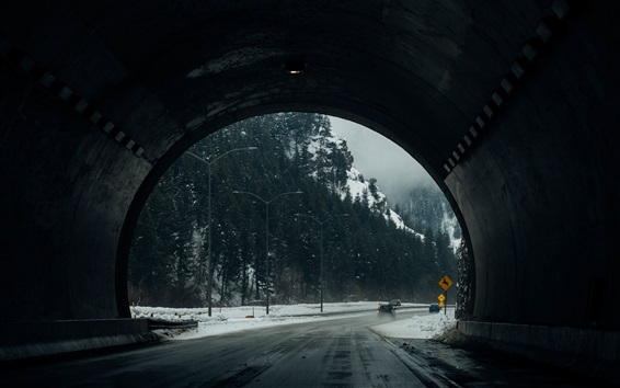 배경 화면 터널, 도로, 나무, 겨울, 눈