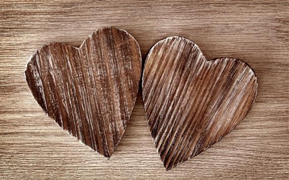 Wallpaper Two love hearts, wood board