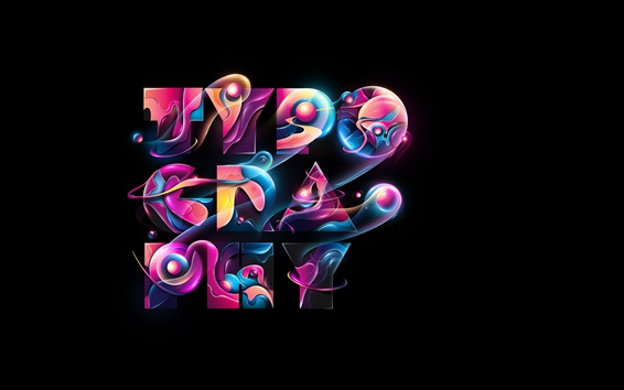 Wallpaper Typography, colorful, abstract design