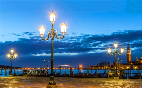 Wallpaper Venice, night, lights, river, clouds, Italy