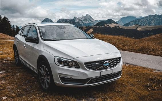 Fondos de pantalla Vista delantera del coche blanco Volvo