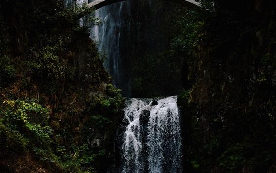 Papéis de Parede Cachoeira, ponte, penhasco