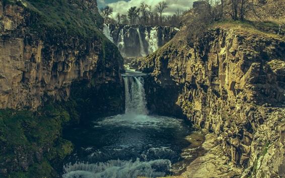 Papéis de Parede Cachoeira, pedras, penhasco