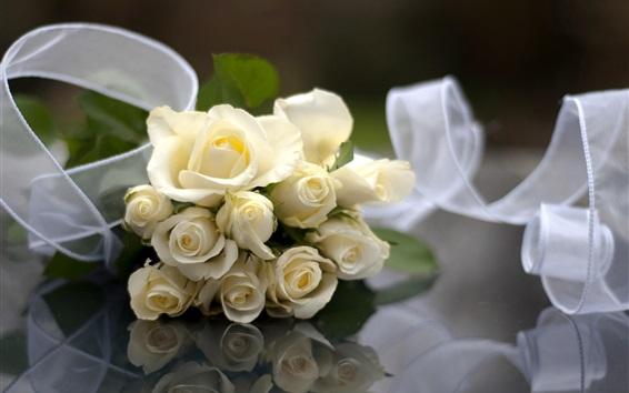 배경 화면 결혼식 꽃, 흰 장미, 리본