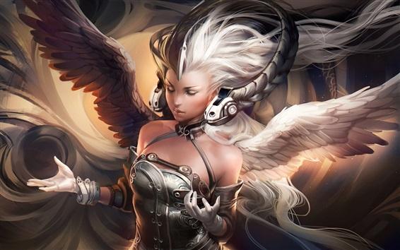 壁紙 白髪のファンタジーガール、羽