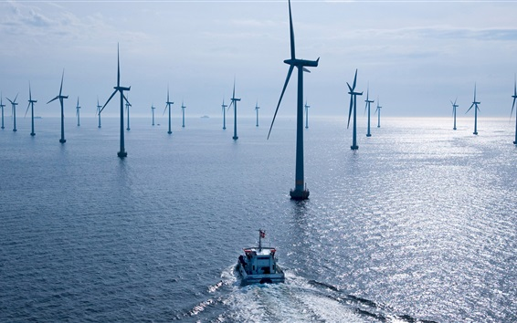 Обои Ветроэлектростанция, море, лодка