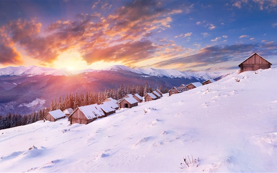 Wallpaper Winter, snow, slope, houses, mountains, clouds, sunset