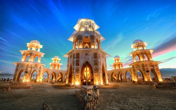 Fondos de pantalla Maravilloso templo al atardecer, luces