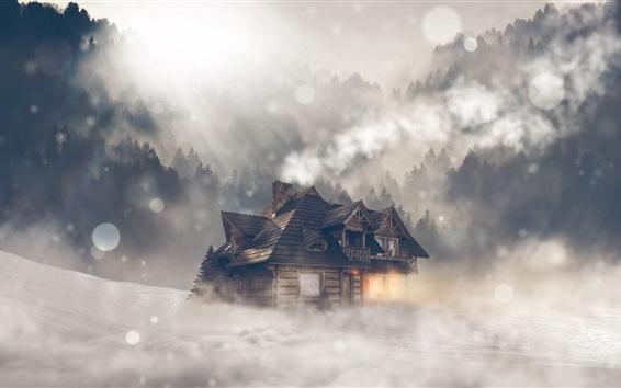 Wallpaper Wood house, trees, sunshine, glare, fog, morning