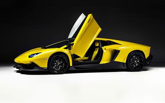 Wallpaper Yellow Lamborghini supercar, doors opened