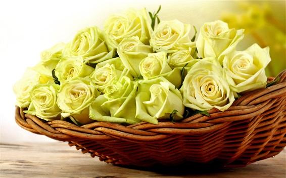 Wallpaper Yellow roses, basket