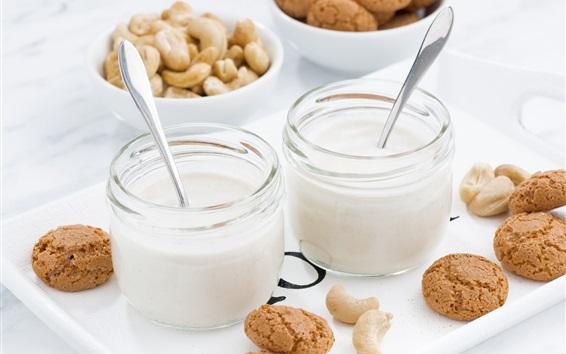 Wallpaper Yogurt, cookies, cashews, breakfast