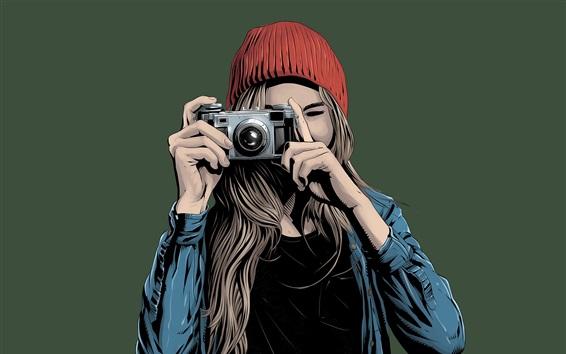 Wallpaper Young girl use camera, art drawing
