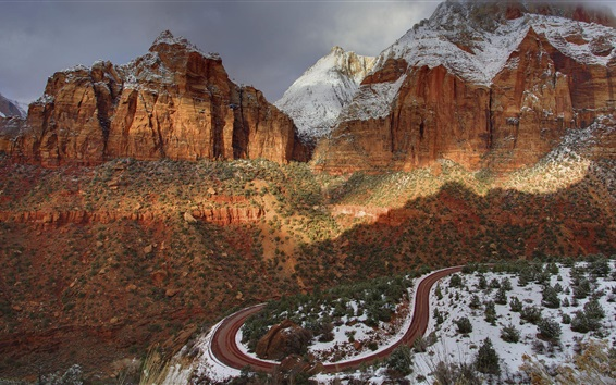 Wallpaper Zion National Park, USA, mountains, road, snow