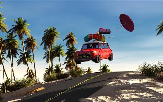 Wallpaper 3D design, palm trees, red car flight, beach