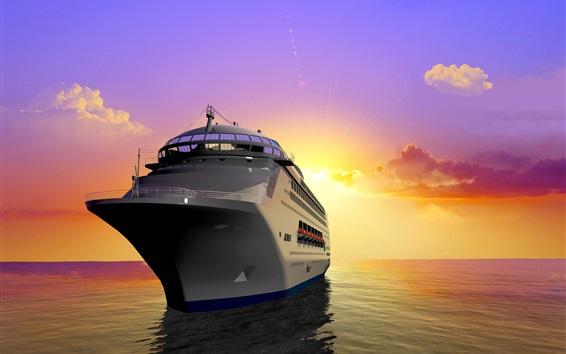 Fond d'écran Graphiques 3D, paquebot, bateau, mer, soleil