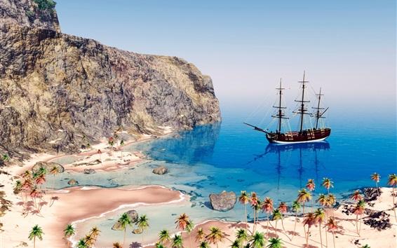 Wallpaper 3D picture, sea, coast, beach, palm trees, sailboat, mountain