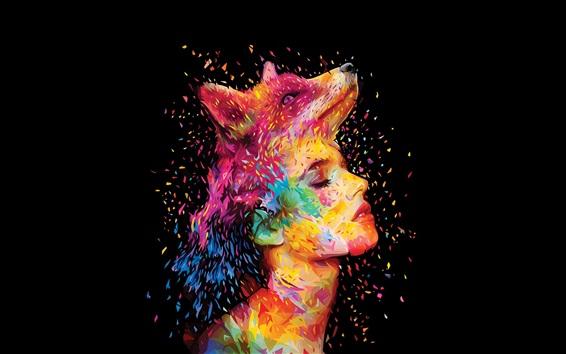 壁紙 抽象的なデザイン、キツネ、女の子の顔、絵、カラフルな