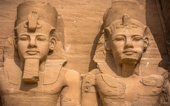 Wallpaper Abu Simbel, ancient statues, Egypt