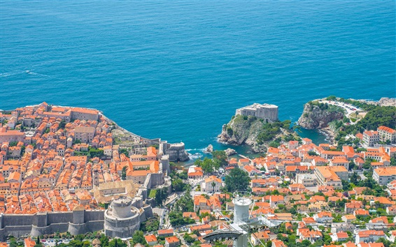 Wallpaper Adriatic Sea, Croatia, Dubrovnik, coast, city, houses, top view