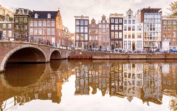 배경 화면 암스테르담, 네덜란드, 강, 다리, 주택