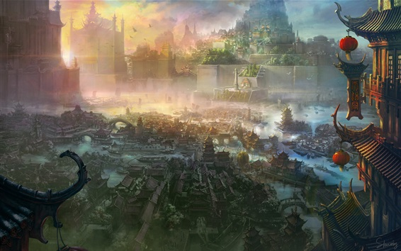 Wallpaper Ancient Chinese city, art painting