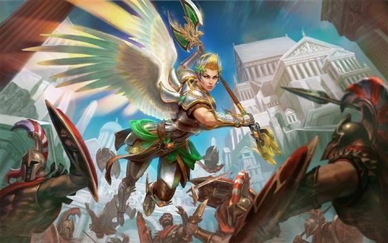 壁紙 天使の少女、戦士、翼、ファンタジー