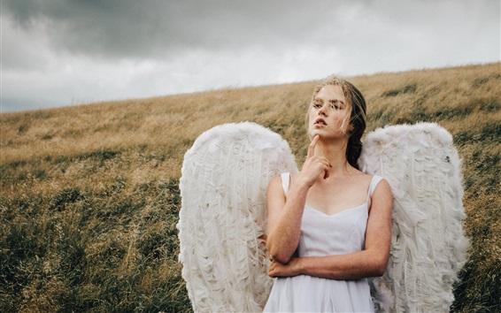 Wallpaper Angel girl, wings, grass, wind