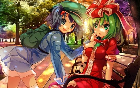 Fond d'écran Anime filles dans le parc, banc, arbres, soleil