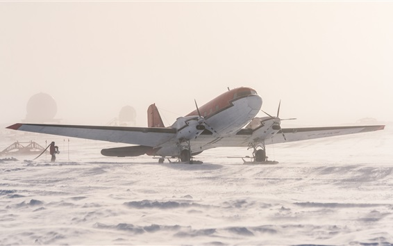 Wallpaper Antarctica, plane, snow, ice