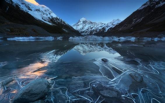 壁纸 奥拉基国家公园,胡克湖,山,雪,新西兰
