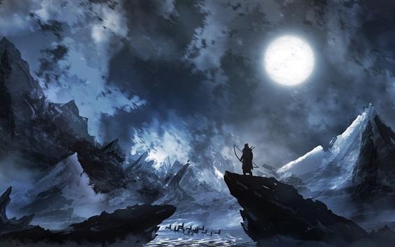 Wallpaper Archer, deer, moon, night, mountains, art painting