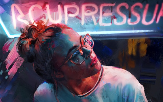 Wallpaper Art drawing, girl, glasses, neon