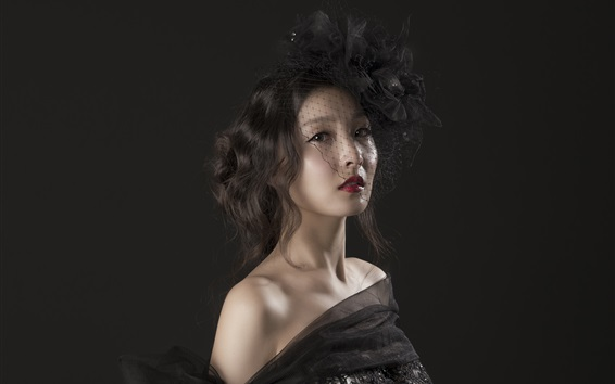 Fondos de pantalla Chica asiática, fondo negro